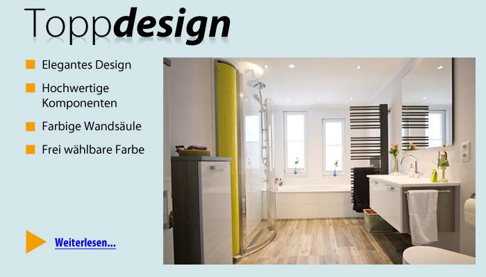 Top Design, farbige Wandsäule, hochwertige Armaturen